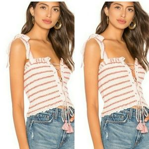 Free People Electric Love Lace Up Stripe Crop Top